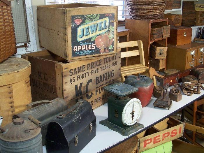 Vintage baking powder, beverage and fruit crates