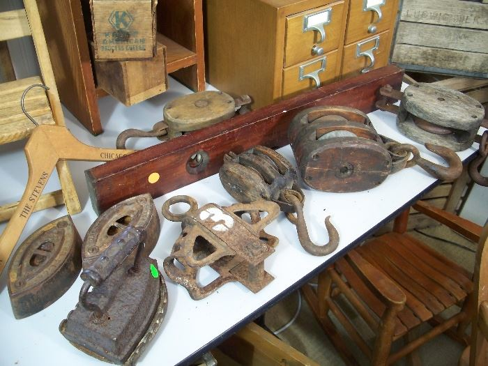 Antique irons, pulleys, block & tackle, tools and file cabinets
