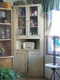 1800's primitive corner cupboard cabinet