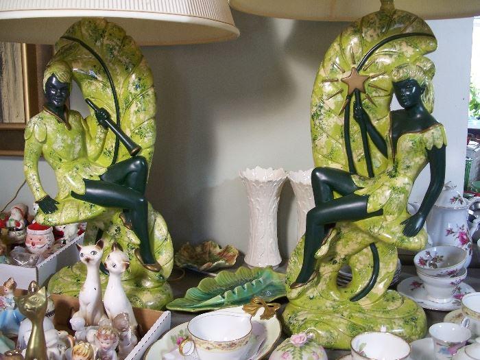 Mid-century pixie, fairy, nymph lamp pair