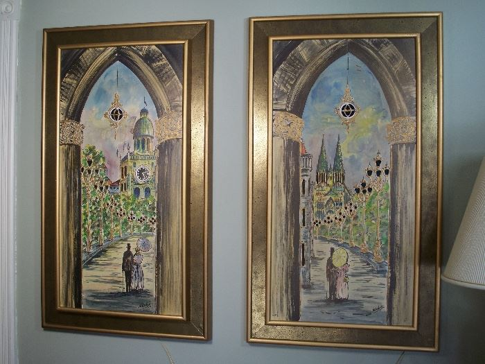 Classic mid-century lighted paintings WORKING