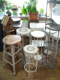 Dozens of vintage and antique plant stands