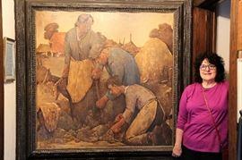 "Willem Van Den Berg - ""Crown Jewel ""painting of his career  - Potato Diggers"