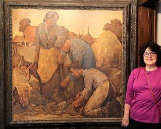 "Willem Van Den Berg - the  ""Crown Jewel ""painting of his career  - Potato Diggers"