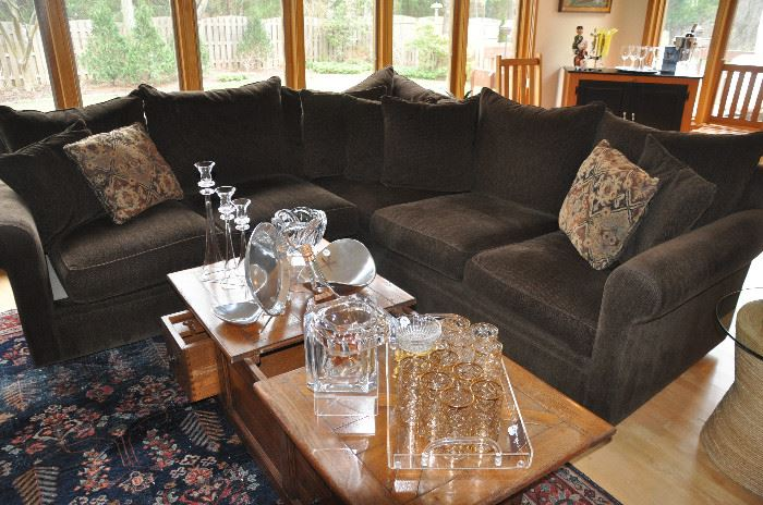 Wonderful brown herringbone upholstered sectional (1 three  cushion and 1 two cushion) by McCreary Modern Furniture, made in the USA from Gormans Furniture
