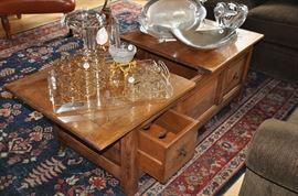 "Rustic storage coffee table with 2 wine drawers,         50""w x 19""h x 25.5""w"