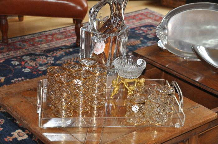 Mid Century Imperial glassware, Morgan lucite tray, shown with an amazing vintage ice bucket