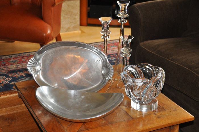 Wonderful Nambe and Wilton serving pieces shown with a set of glass candlesticks and an Art Vannes crystal bowl
