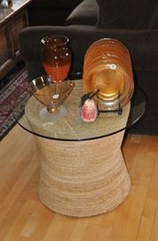 """Crate and Barrel rattan side table with glass top, 19""""h x 24""""round"""