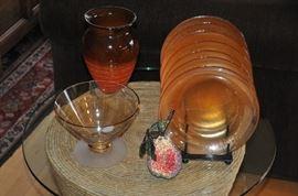 Set of 8 iridescent dessert plates, a hand blown glass vase and vintage glass serving bowl