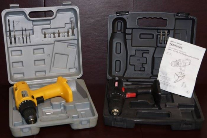 Cordless Drill Lot With Cases Bare Tools