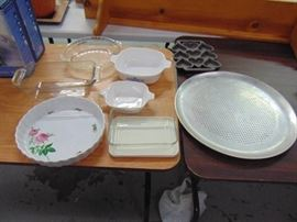 bakeware with hearts and pretty flowered dish