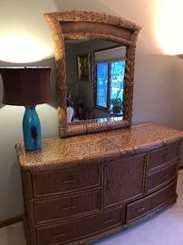 rattan colonial dresser, can be sold separately or with the 4-piece set