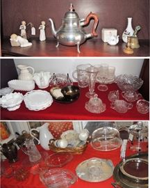 Stieff Peweter coffee pot - serving pieces - milk glass - cake plates - Willow Tree