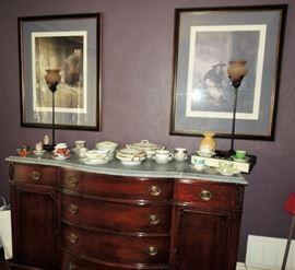 1940s buffet, large framed art, art deco lamp set