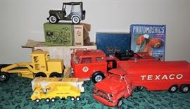 Texaco truck and fire truck, Tonka jeep and trucks - some with original (clean!) boxes