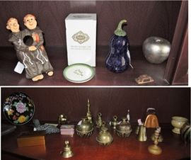 Home decor - brass bells, wine holder