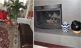 Black iron modern fireplace screen, rugs, leather bench, artificial trees, urns and pottery