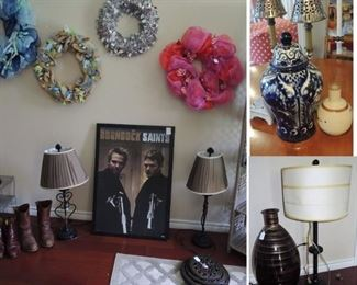 Wreaths, lamps, urns, candles