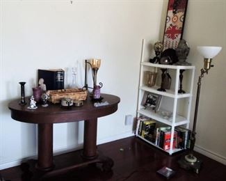 Entry table, books, home decor, heavy brass lamp