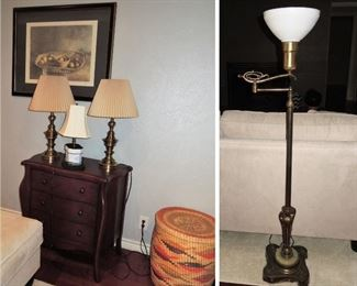 Small chest - large framed art - lamps