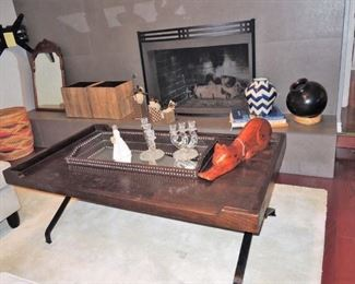 Large, heavy industrial wood coffee table