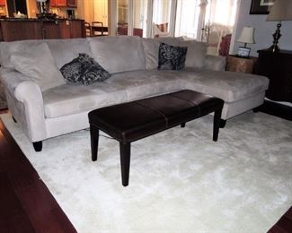 Microfiber sofa with chase - leather bench