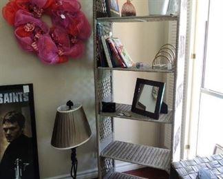 Wicker-look shelf unit  tall