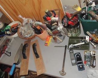 Hand tools  and paint supplies: planers, wrenches, hammers, axes, screwdrivers, grips, clamps and more