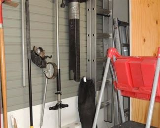 Paint ladders, shoves, rakes, brooms, Toro blower with attachments. Echo gas pole saw with edger