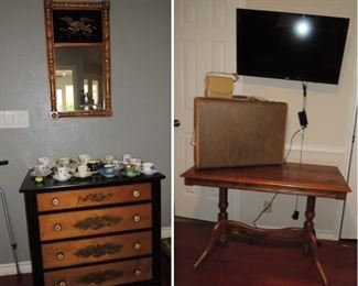 Barley twist trestle table, antique chest and mirror.  Flat screen tv in every room