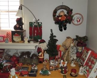 Christmas ornaments and decor.  Office lamp - indistrial style