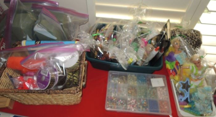 Craft and floral supplies, Barbies, and more