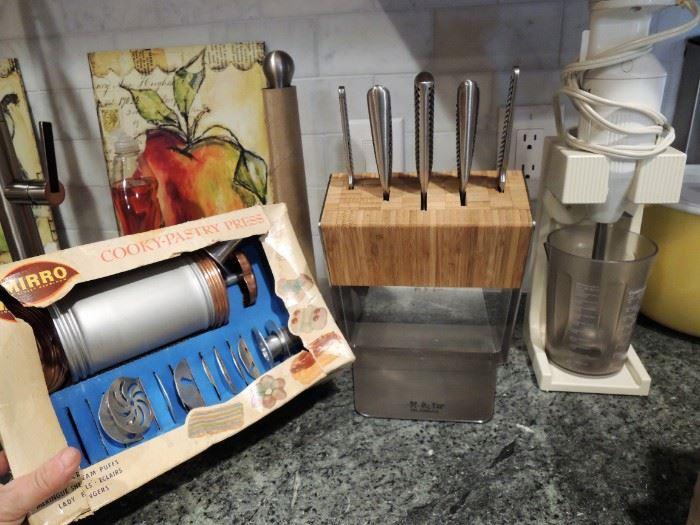 Baking supplies. stick blender. Global knife set