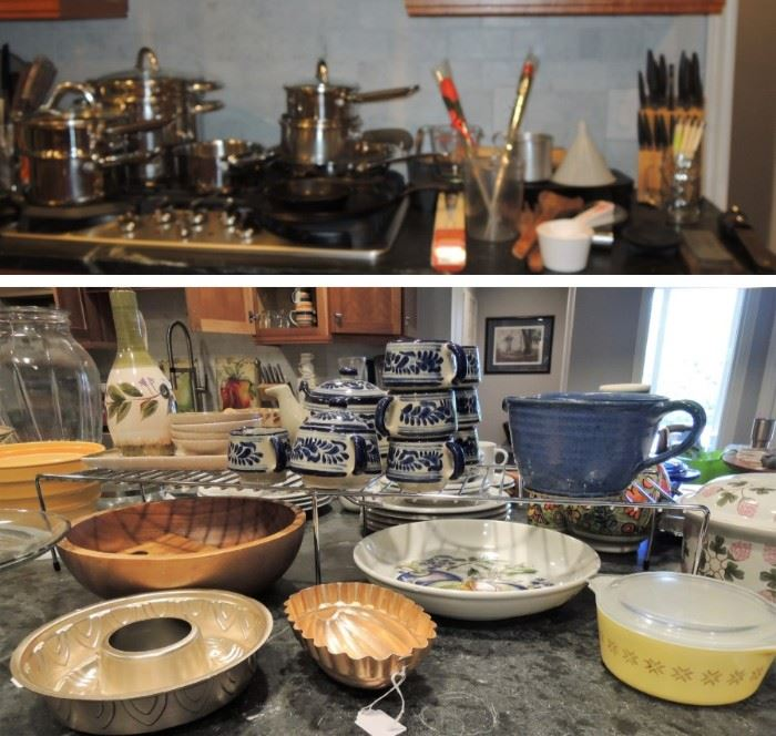Pots and pans, dish sets, pottery, cookware, knives and so much more
