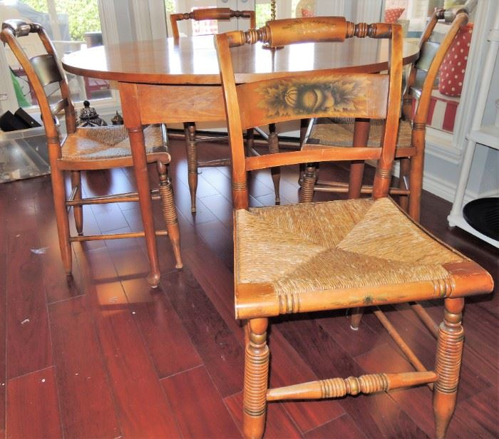 Round table. Thrush bottom stenciled chairs