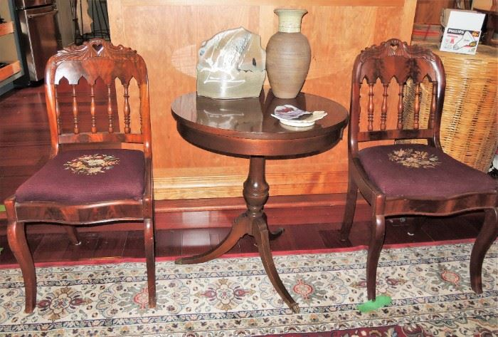 carved chair set with needlepoint bottom