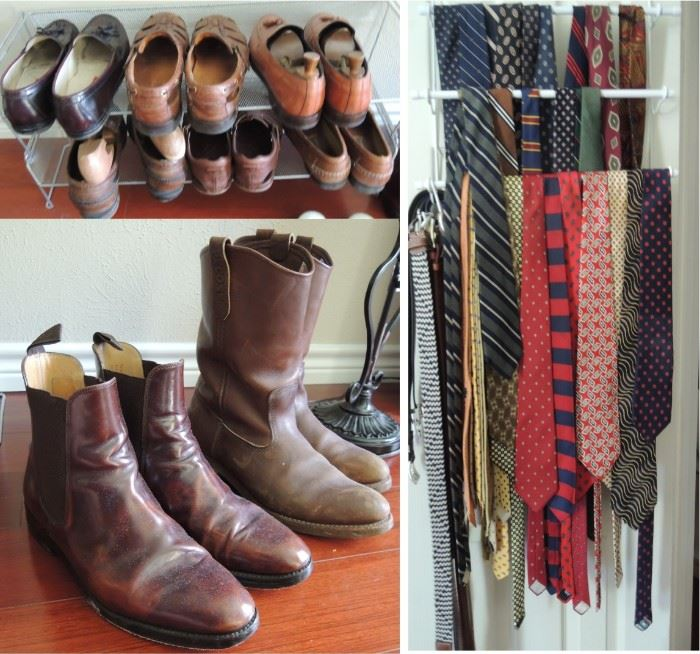 Mens shoes and ties.  Red Wing, Johnson Murphy