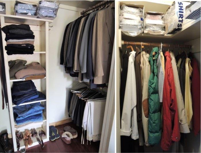 Mens coats and clothes.  Levi, Orvis, Jos Banks, Brooks Bros. Pants 36/30. Size L Shirts