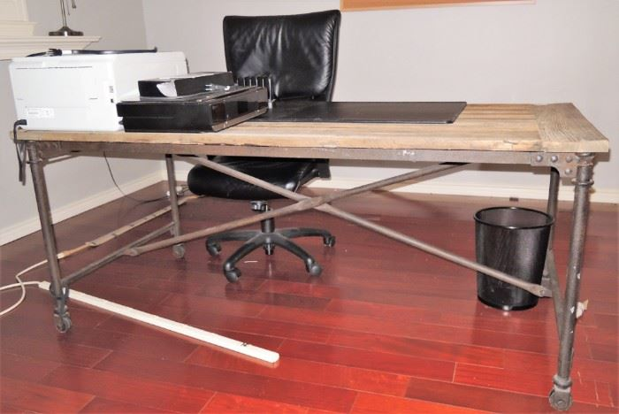 Industrial style desk. Lazyboy office desk chair