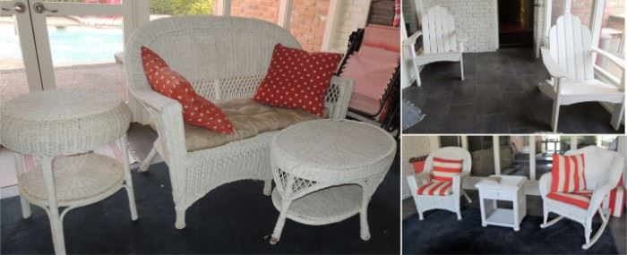 Patio and sun room.  Wicker sofa, side tables, chair and rocking chair. Poly Wood chair set