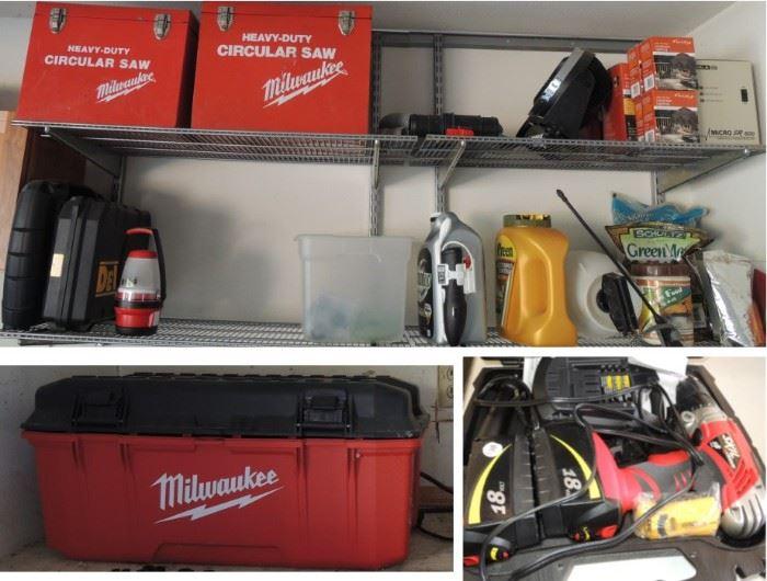 Milwaukee tools, tool box, Skil cordless drill, Milwaukee Circular saw (2)