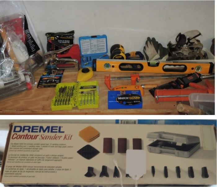 Dremel Sander,  drill bits, levels, clamps, grips and so much ore