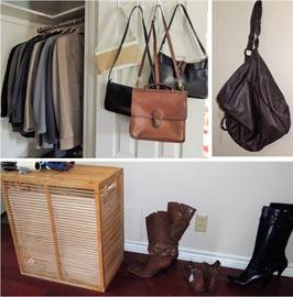 Bamboo clothes hamper, Frye boots, Coach and Brahmin Handbags