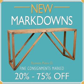 Shop newest estate sale merchandise markdowns on fine consigned pieces at Interiors at Black Rock Galleries. Shop online anytime www.blackrockinteriors.com or in person Tue-Sat from 10-5.