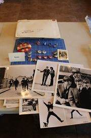 """Original Envelop (at top)  With 7-8x10 Glossy Photos (at bottom) From  """"hard Days Night"""" And Original Letter 9not shown).  Beatles Fan Pins"""