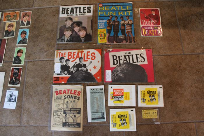 Beatles Large Fold Out Poster (was taped to a wall in the past), Indiana Sate Fair Ticket With Newspaper Clipping About The Event, Beatles Rings (Not Pictured), Beatles Bubble Gum Candy Wrappers