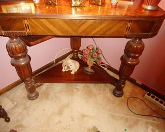 Hand Carved Columns Shelf, Dog..needs new foot damaged.  Vintage Door Stop
