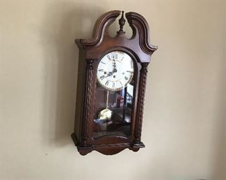 Anyone know what time it is? Solid wood and one of 2 Howard Miller wind up wall clocks!
