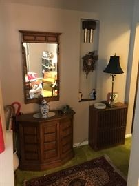 Hallway console and matching mirror, cuckoo clock and a set of old school encyclopedias!